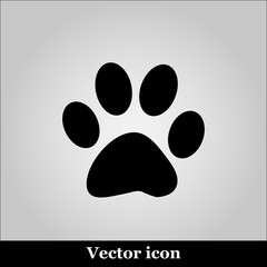 Paw Print  on grey background, vector illustration