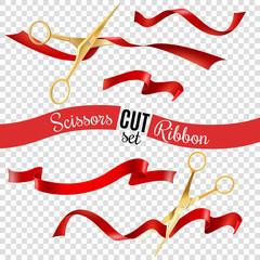 Scissors And Ribbon Transparent Set