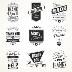 Thank You Monochrome Isolated Signs