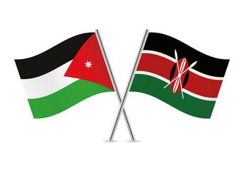 Jordanian and Kenyan flags. Vector illustration.
