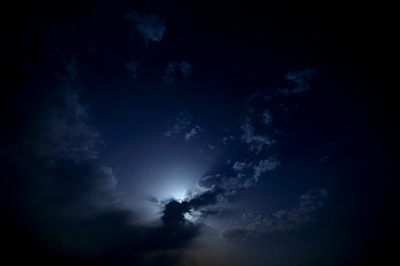 The moon behind the clouds in the night sky.