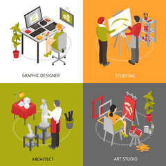 Art Studio Isometric 2x2 Icons Set