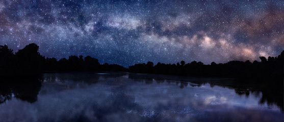 Printed roller blinds Lake Milky Way over the lake