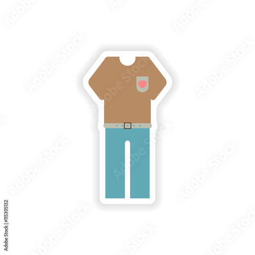 Stylish Paper Sticker On White Background Trousers And T