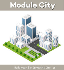 Flat isometric map, landscape city, building skyscraper, picture of the nature, parks, cafe, landmarks. Vector 3d top view block dormitory area