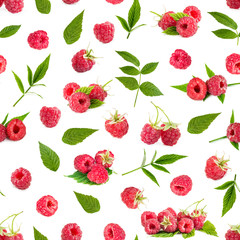 Seamless pattern background with fresh raspberry