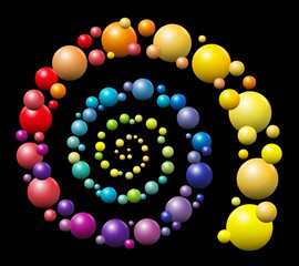 Spiral - rainbow gradient colored pattern out of three-dimensional balls on black background.