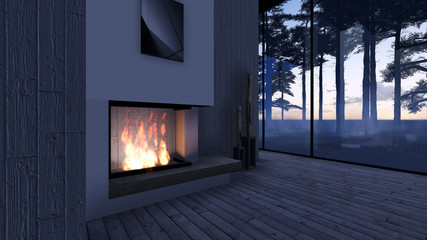 Modern Fireplace in white stone. Nature view. Morning sunrise, beautiful peaceful lights. 3D Render Image