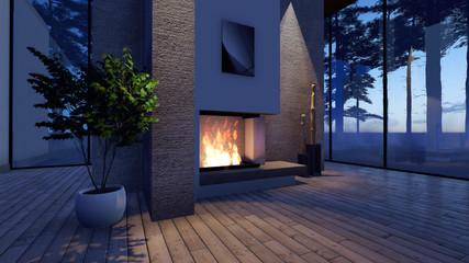 Modern Fireplace in white stone with lights. Render Image
