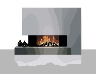 Modern Fireplace Vector. Realistic Vector White modern room interior illustration