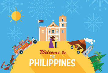 llustration of the Philippines's landmarks and icons
