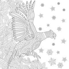 Zentangle stylized cartoon pheasant bird (cock, phoenix), leaves, snowflakes. Hand drawn sketch for adult antistress coloring book page, T-shirt emblem, tattoo with doodle, zentangle design elements.
