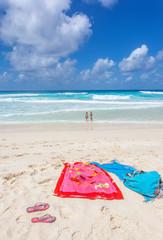 serviettes sur plage de Grande Anse, la Digue, Seychelles