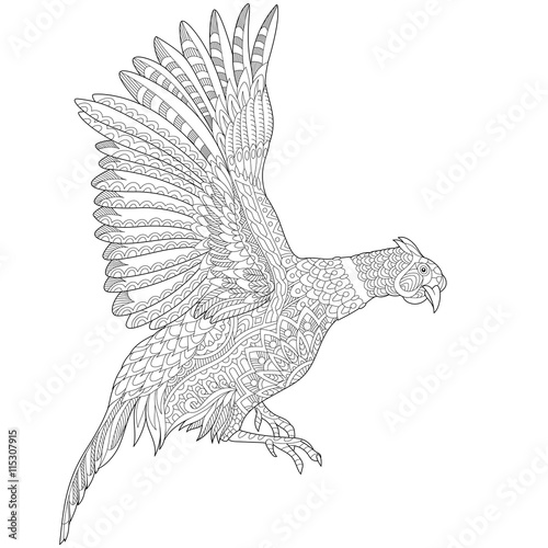 Zentangle stylized cartoon flying pheasant bird cock hen