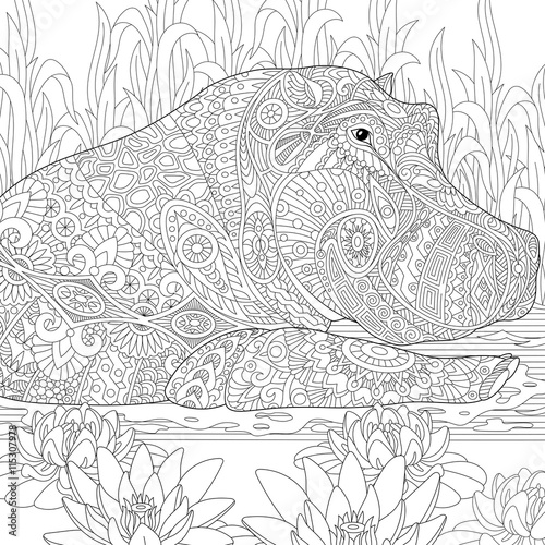 Zentangle Stylized Cartoon Hippopotamus Hippo Swimming Among Lotus Flowers And Pond Algae Hand
