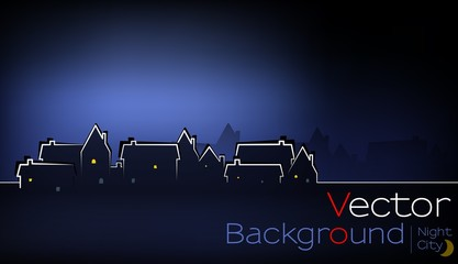 Vector of Town at Night with illuminated copy space for your text on top left, darker area for additional text on bottom. Dark blue colors, blurred background. City in the bottom. eps 10