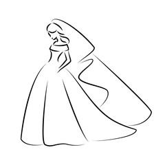 Abstract outline illustration of a young elegant bride in weddin