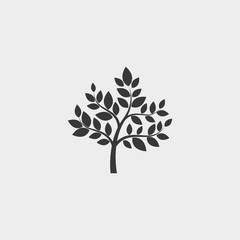Tree icon in a flat design in black color. Vector illustration eps10