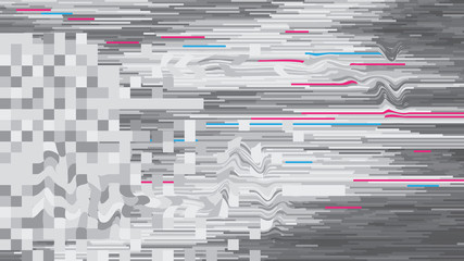 Abstract background vector pattern in glitch style design digital decay