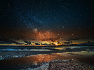 starry sky over Alghero at night