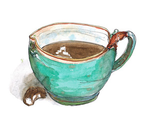 Watercolor sketch illustration art Original turquoise ceramic mug of coffee and chocolate candy with shadow isolated