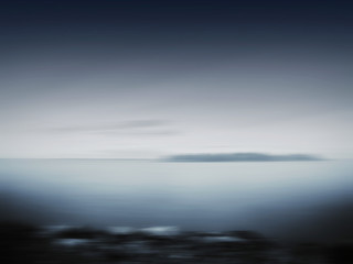 Horizontal black white island blur motion abstraction
