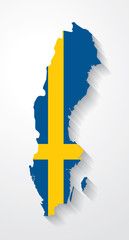 Flag map of Sweden with cast shadow effect