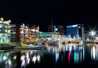 Horizontal night lights of Norway town background