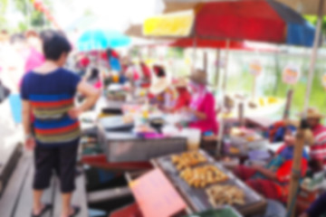 Blurred abstract background of Floating Market in Thailand