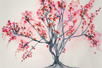 Tree with cherry blossoms