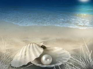Single pearl in oyster shell on moonlit beach with footprints in the background