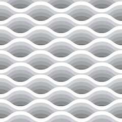Wave seamless pattern. Vector white background of abstract waves in grayscale colors. Vector illustration with 3D effect.