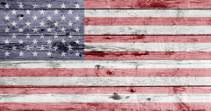 american flag painted on wooden texture