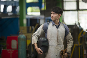 Man wearing safety suite for working in steel industry