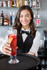 Beautiful waitress holding tray with cocktail glass