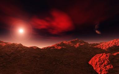 Martian landscape, sunset on Mars