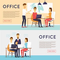 Business characters, meeting, teamwork, collaboration and discussion, conference table, brainstorm. Workplace. Office life. Banners. Flat design vector illustration.