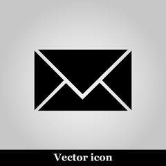 postal envelope sign on grey background, vector illustration