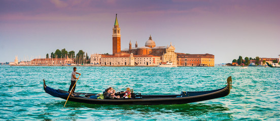 Printed kitchen splashbacks Gondolas Gondola with San Giorgio Maggiore at sunset, Venice, Italy