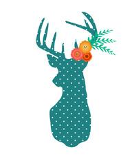 Boho deer with flowers