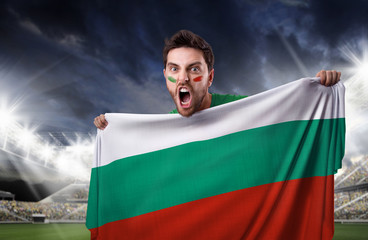 Fan holding the flag of Bulgaria
