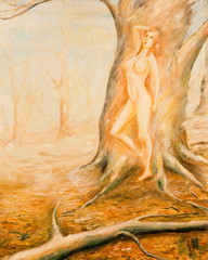 Wood nymph. Oil painting