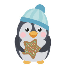 Cute pengutn with gingerbread