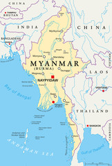 Myanmar political map with capital Naypyidaw, national borders, important cities, rivers and lakes. Also called Burma and old capital Rangoon, Yangon. English labeling. Illustration.