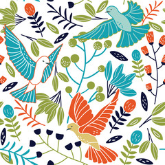 Seamless pattern made of flowers and pigeons