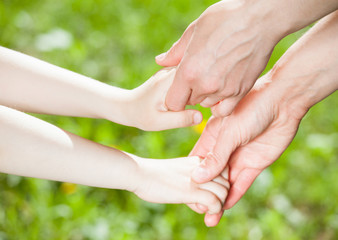 Hands of parent and child holding together
