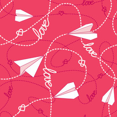 Hearts Paper Airplanes Love Seamless Pattern
