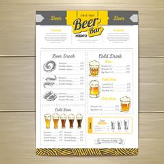 Vintage beer menu design.
