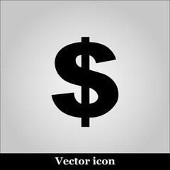 Us dollar icon on grey background