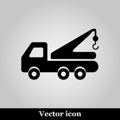 Tow truck line icon on grey background